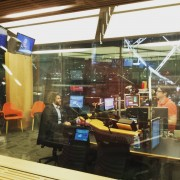 Being interviewed at the 612 ABC Brisbane Studio